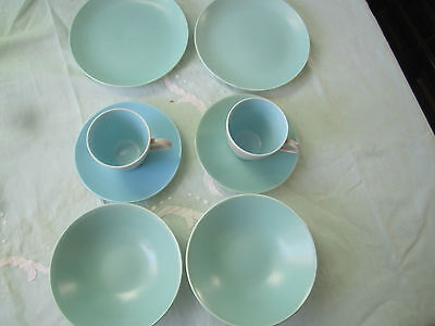 VINTAGE POOLE TWIN TONE CROCKERY -2 coffee cups&saucers-2 soup bowls 2 cake plat