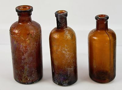 """Lot of 3 Vintage Amber Glass Medicine Apothecary Bottles No Lids Lysol 5 & 6"""""""