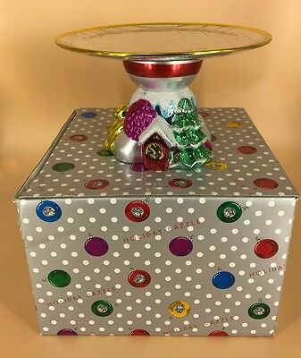 """Department 56 Holiday Dazzle Christmas Footed Cake Plate 8"""" W/box"""