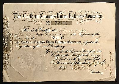 The Northern Counties Union Railway Company  Share Certificate
