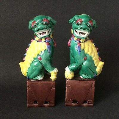 """Mid-Century Chinese Porcelain Foo Dogs 8.5"""" - Set of 2"""