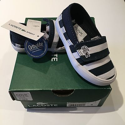 Lacoste Marice Blue White UK4 EU20 Infant Pumps BNWT Baby Trainers Shoes RRP £32