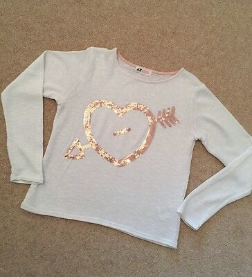 Girls Jumper Fine Knit Cream With Gold Sequins Love Heart H&M Age 10 To 12 Years