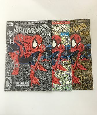 SPIDER-MAN #1 lot Green, Silver And Gold TODD MCFARLANE 1990
