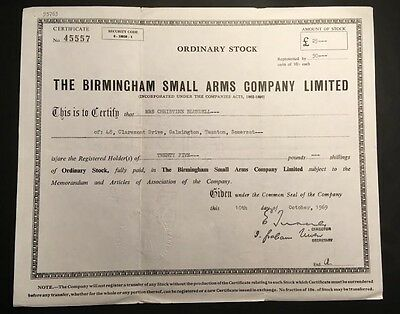 The Birmingham Small Arms Company Share Certificate