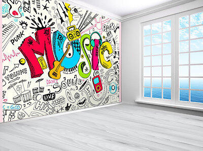 Tennager Music graffiti sketch doodle wallpaper photo wall mural (11915519)