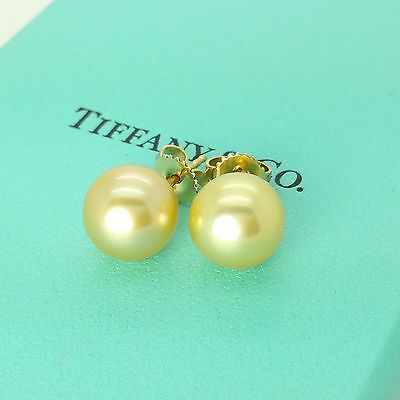 New Tiffany & Co 18k Yellow Gold 10mm Gold Golden South Sea Pearl Stud Earrings