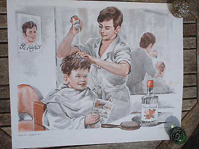 ORIGINAL RETRO VINTAGE 1970s FRENCH POSTER PRINT,BARBER SHOP / BAKERY SHOP