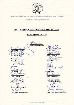 SOUTH AFRICA 'A' Official CRICKET 1996 England Tour SIGNED Team Sheet