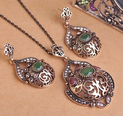 Turkish Large Size Necklace Earrings Set Antique Gold Green Jewellery Set