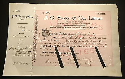 J.G Swales & Co., limited  Share Certificate