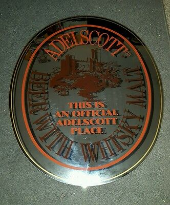 Rare Adelscott Beer With Whiskey Mirrored Sign Official Bar/Pub Hanger.