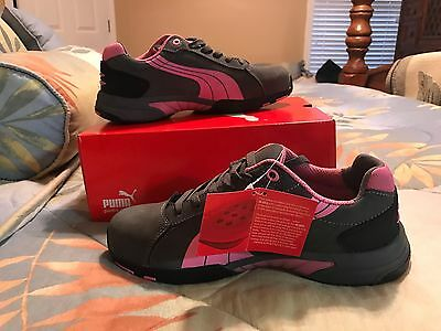 Sz. 8.5 Athletic Style Work Shoes, Women's, Gray/Pink, Steel Toe, C, Puma Safety