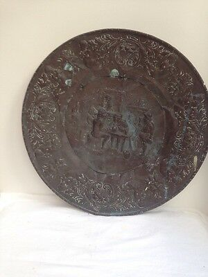 "Very Old 24"" Diameter Copper Wall Plate"