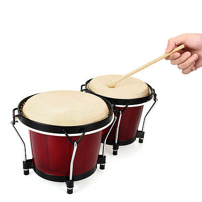 Djembe Percussion Vintage Wood Sheepskin Bongo Drum with hammer for kids Toy