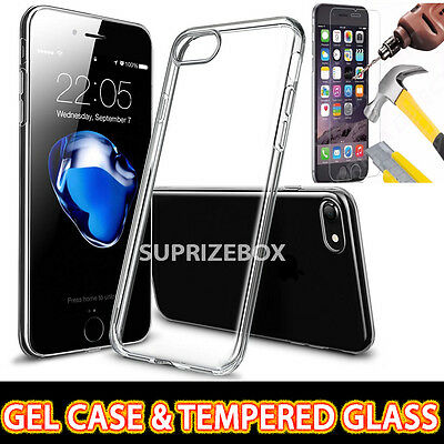 Apple iPhone 7 Crystal Clear Slim Gel Case & Tempered Glass Screen Protector