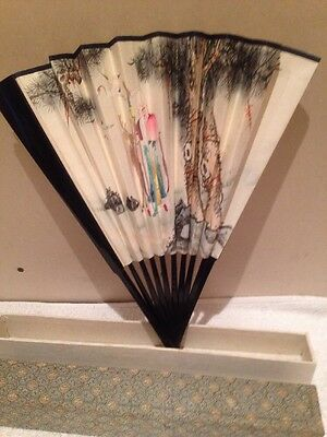 "Beautiful Vintage Boxed Chinese Fan 13"" High"