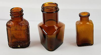 Lot of 3 Vintage Amber Glass Medicine Apothecary Bottles No Lids Small Triangle