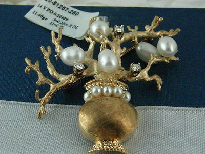 "14Kt Yellow Gold ""Tree of Life"" pin  with Pearls and Diamonds"