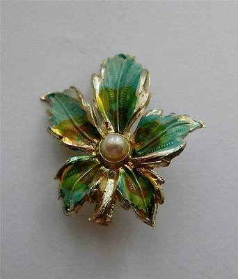 Vintage 1950's (Approx) Silver & Turquoise Painted Leaf Dress Brooch