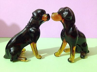 Rottweiler dogs blown glass figurines realistic Souvenirs from Russia