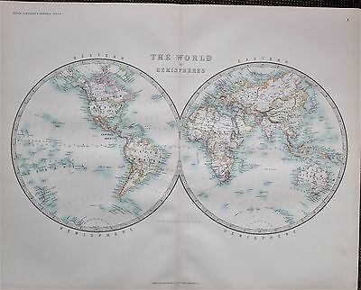 1895 Large Antique Map ~ The World In Hemispheres Western & Eastern Africa Asia