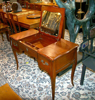 Fruitwood Poudre Vanity, French Provincial with Mirror by John Widdecomb