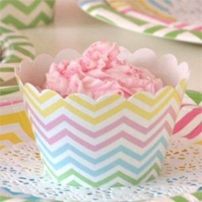 NEW Chevron Pastels Cupcake Wrappers - pack of 12 Partyware Gifts School