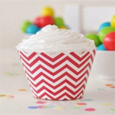 NEW Red Chevron Cupcake Wrappers - pack of 12 Partyware Gifts School