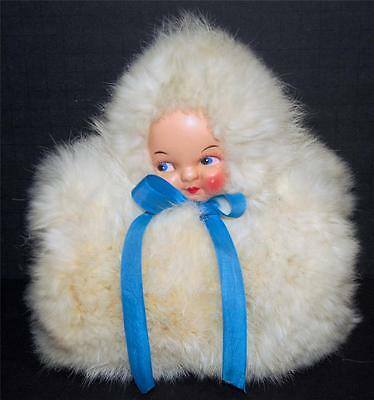 Vintage Childs Real Rabbit Fur Muff with Doll Face