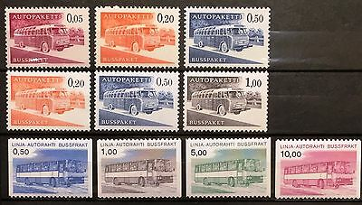 Finland Bus Parcel Stamps 1963 in two versions & 1981 Full Sets - MNH