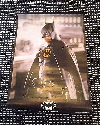 "Vintage DC Comics ""Batman Returns"" Poster ~ Signed by Michael Keaton."
