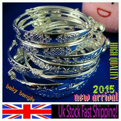 925 sterling SILVER CHRISTENING BANGLE anklet ADJUSTABLE 0-6 BOY GIRL baby GIFT