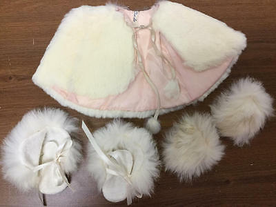 Vintage Terri Lee White Fur Cape, Mittens And Boots