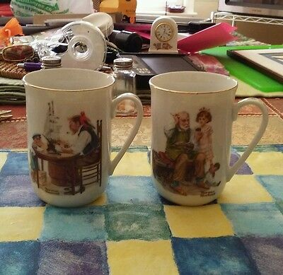 Two Norman Rockwell Coffee Cups (Cobbler &good Boy)