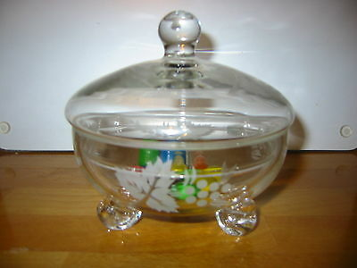 VINTAGE ETCHED GLASS TUREEN  DISH.  glass bowl. glass dish RAYWARE. butter dish