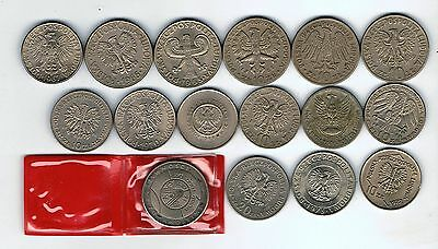 16 different Poland 10 20 50  Zlotych coins : 1959 - 1991