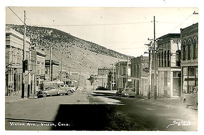 Victor, Colorado. RPPC. Real Photo. Victor Ave. Sanborn S-1864, Coors, 1950s