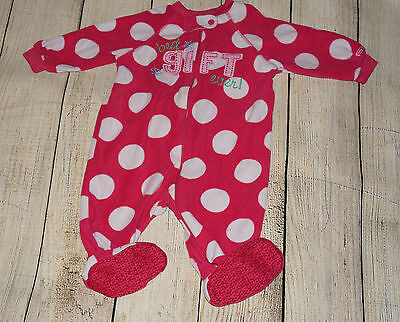 The Children's Place Baby Girl 6-9 Months Sleeper Footed Fleece Pajama, Pink