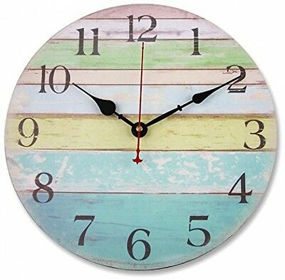 Soledi Wall Clock 12 Vintage Wood Colorful Stripe Design Rustic Country Tuscan