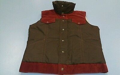 Vtg 1970S Royal Down Western Ski Puffy Vest Jacket Mens Brown Corduroy M Retro