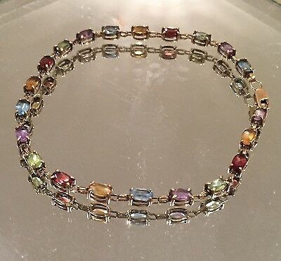 10 K Solid Yellow Gold Bracelet Multi-Color Gemstones 4.6 Grams 8 inches