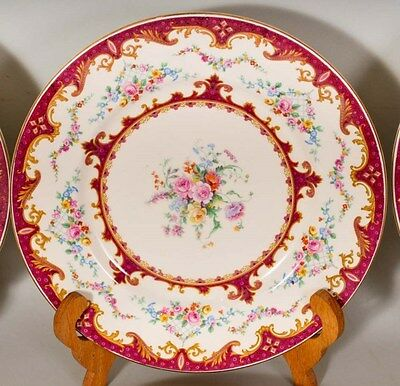 8 Myott Staffordshire Sevres Red Pattern 3811 Porcelain Dinner Plate 10 3/4""