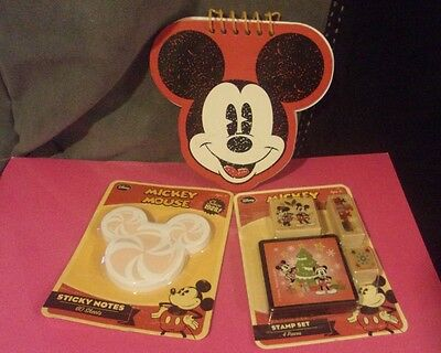 Disney Mickey Mouse Sticky Notes, Memo Pad and Stamp Set Lot of 3 NEW