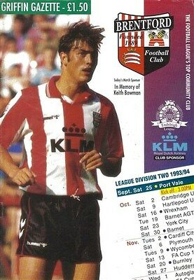 Brentford Port Vale (Away club) 25/09/93 GRIFFIN Park football programme
