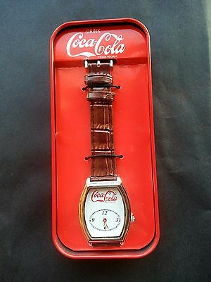 New Coca-Cola Coke Leather Band Wristwatch In Tin