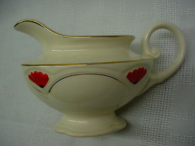 Vintage Creamer or Cream Pitcher, Homer Laughlin China, Black Red Marigold Blank