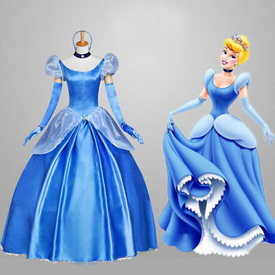 Adult Women Cinderella Princess Dress Ladies Fancy Dress Cosplay Costume US ship