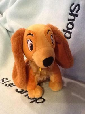 "Disney Cutest Lady & The Tramp  Spaniel Lady Dog Plush Stuffed Animal 7"" Euc"