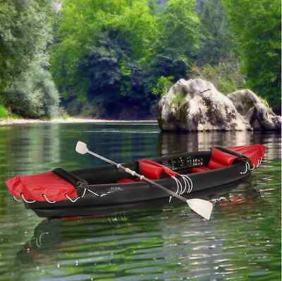 Inflatable 2 Person Canoe, Clear Water Boat,1 Self Blow Up Kayak, Full Oars .